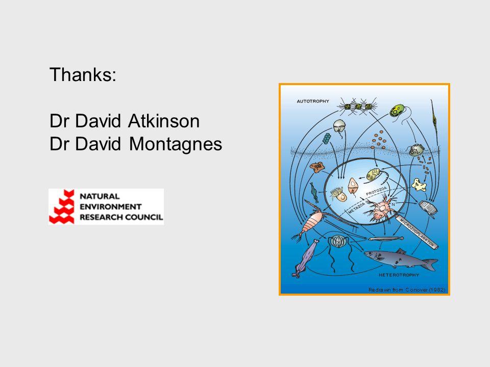 Thanks: Dr David Atkinson Dr David Montagnes