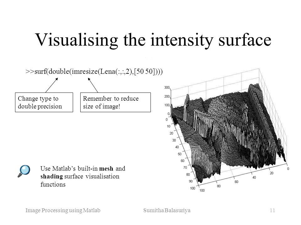 Image Processing using Matlab Sumitha Balasuriya11 >>surf(double(imresize(Lena(:,:,2),[50 50]))) Visualising the intensity surface Remember to reduce
