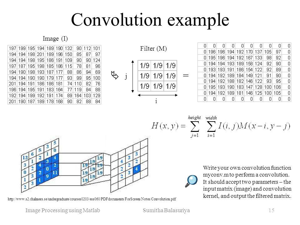 Image Processing using Matlab Sumitha Balasuriya15 Convolution example Write your own convolution function myconv.m to perform a convolution. It shoul