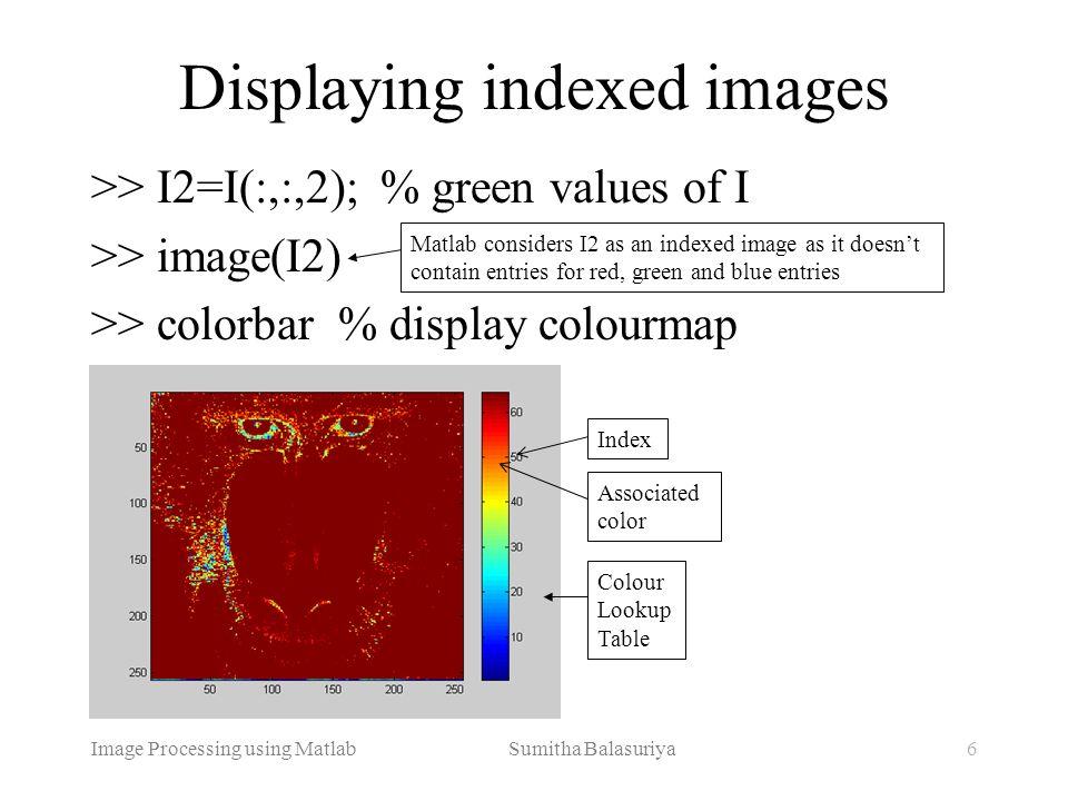 Image Processing using Matlab Sumitha Balasuriya6 >> I2=I(:,:,2); % green values of I >> image(I2) >> colorbar % display colourmap Displaying indexed