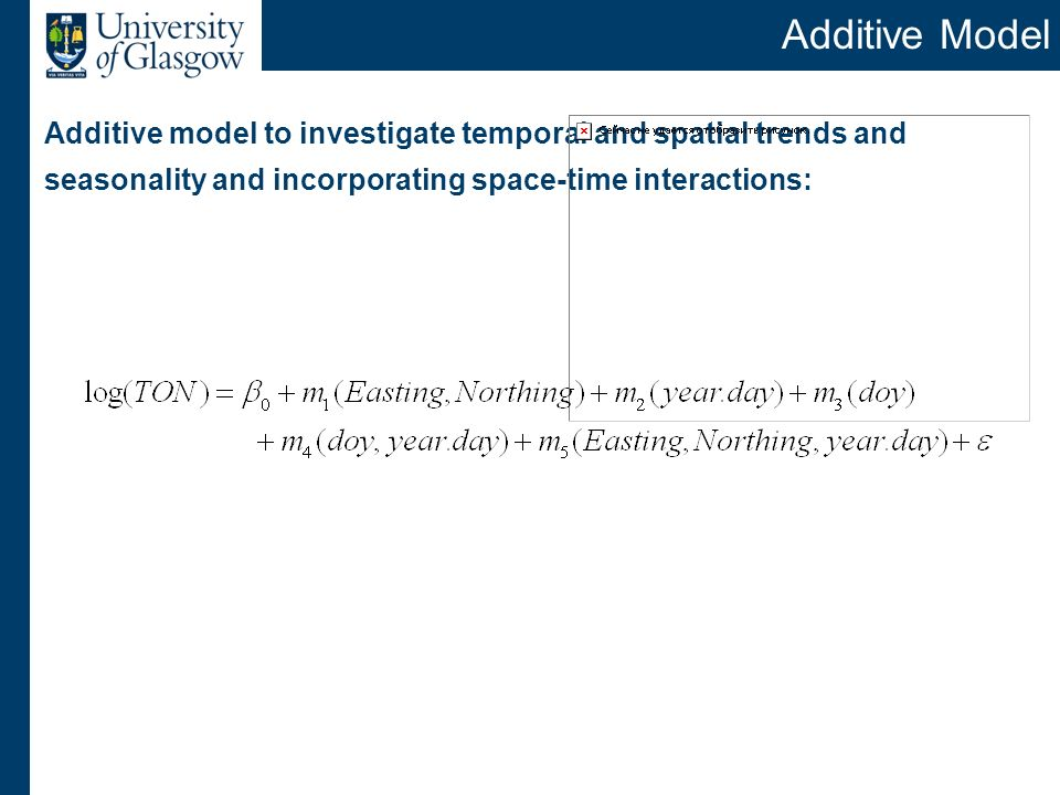 Additive Model Additive model to investigate temporal and spatial trends and seasonality and incorporating space-time interactions:
