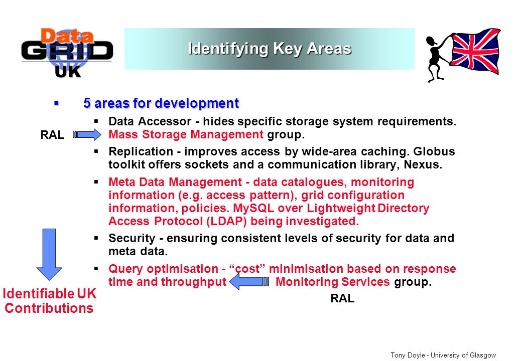 UK Tony Doyle - University of Glasgow 5 areas for development 5 areas for development Data Accessor - hides specific storage system requirements.