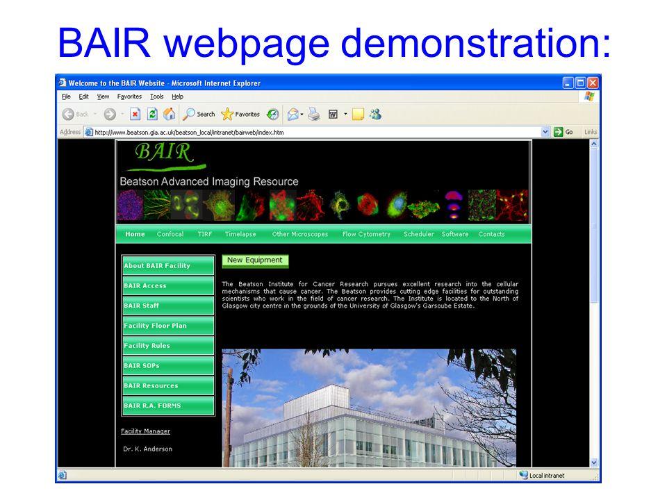 BAIR webpage demonstration: