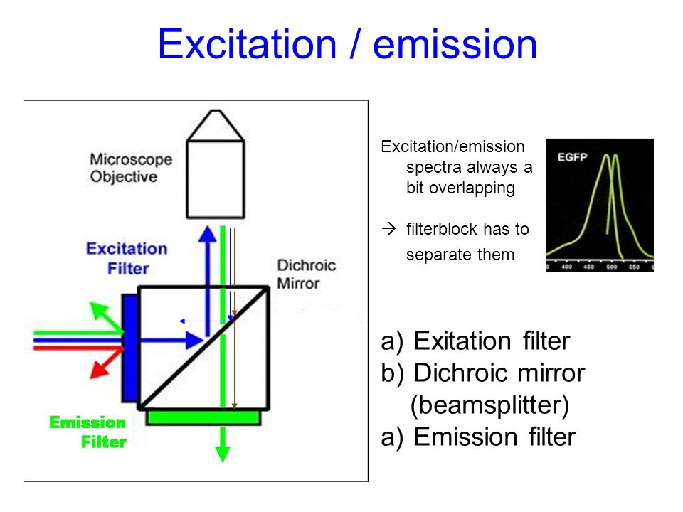 Excitation / emission Excitation/emission spectra always a bit overlapping filterblock has to separate them a) Exitation filter b) Dichroic mirror (be