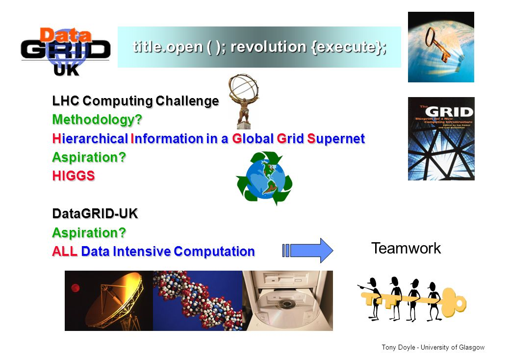 UK Tony Doyle - University of Glasgow title.open ( ); revolution {execute}; LHC Computing Challenge Methodology.