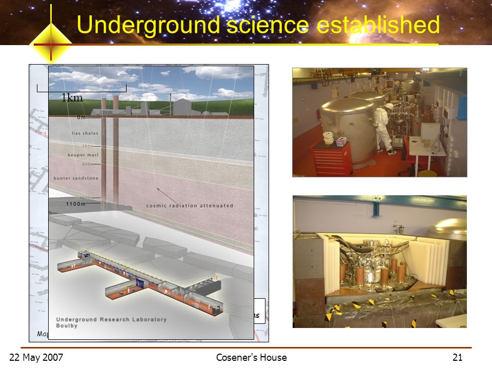 22 May 2007 Cosener's House 21 Map of excavations Mine Shafts Dark Matter Research Areas Underground science established 1km