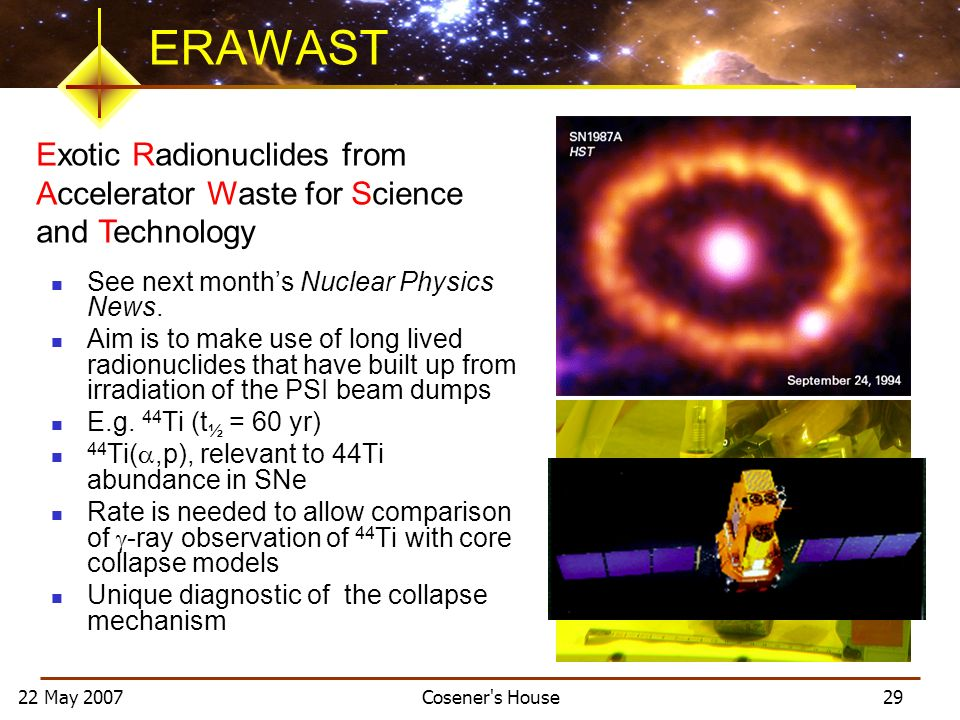 22 May 2007 Cosener's House 29 ERAWAST See next months Nuclear Physics News. Aim is to make use of long lived radionuclides that have built up from ir