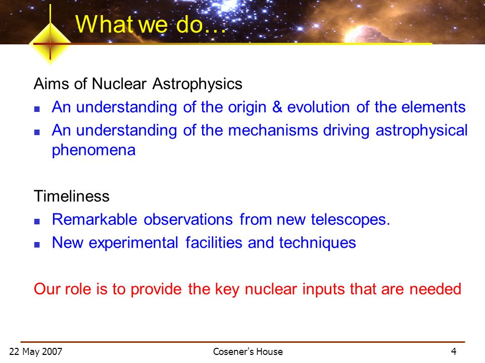 22 May 2007 Cosener s House 4 What we do… Aims of Nuclear Astrophysics An understanding of the origin & evolution of the elements An understanding of the mechanisms driving astrophysical phenomena Timeliness Remarkable observations from new telescopes.