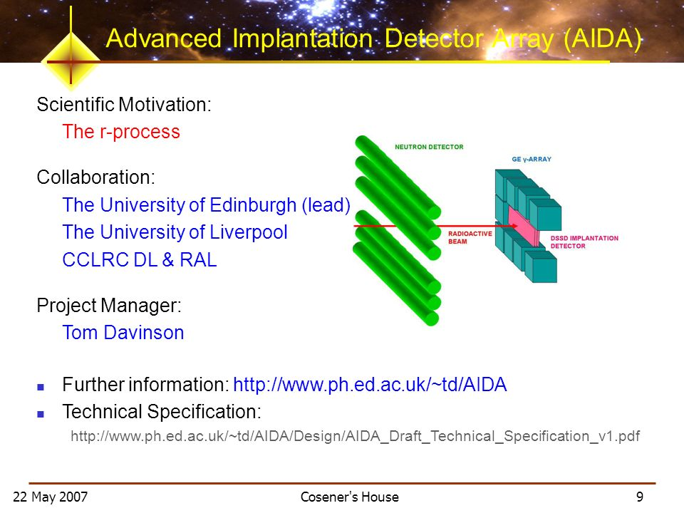 22 May 2007 Cosener's House 9 Advanced Implantation Detector Array (AIDA) Scientific Motivation: The r-process Collaboration: The University of Edinbu