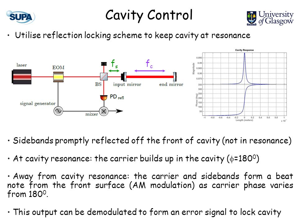 Cavity Control Utilise reflection locking scheme to keep cavity at resonance Sidebands promptly reflected off the front of cavity (not in resonance) A