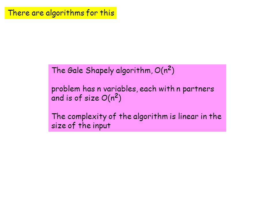The Extended Gale Shapley Algorithm (man optimal) 1 L := list of free men 2.