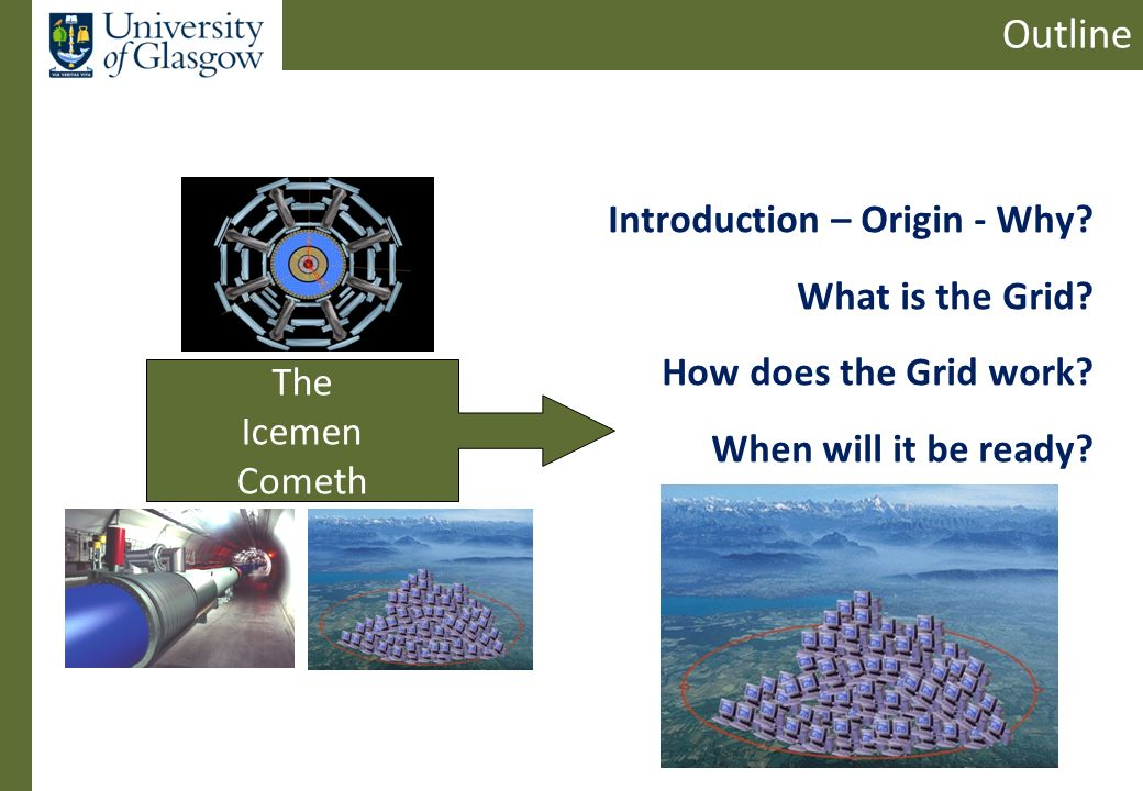 Outline Introduction – Origin - Why. What is the Grid.