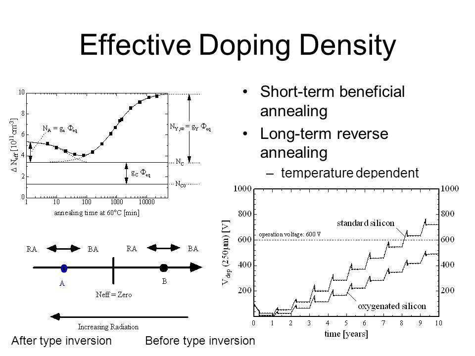 Effective Doping Density Short-term beneficial annealing Long-term reverse annealing –temperature dependent –stops below -10 C Before type inversionAf