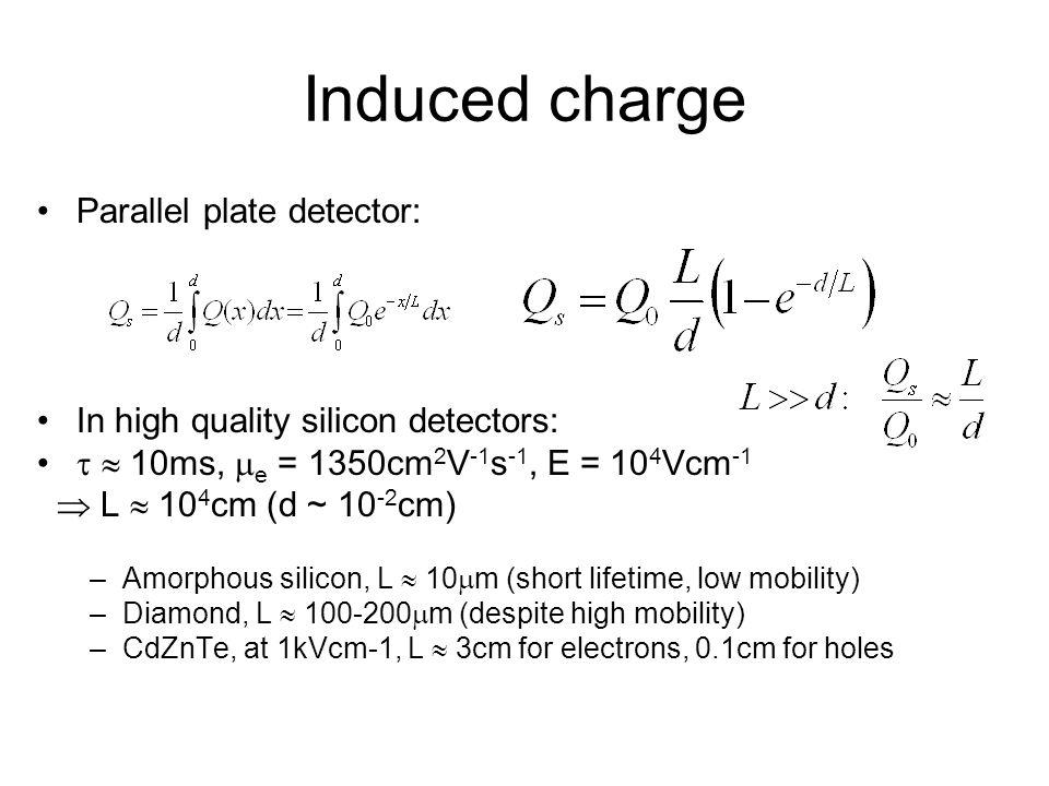 Parallel plate detector: In high quality silicon detectors: 10ms, e = 1350cm 2 V -1 s -1, E = 10 4 Vcm -1 L 10 4 cm (d ~ 10 -2 cm) –Amorphous silicon,