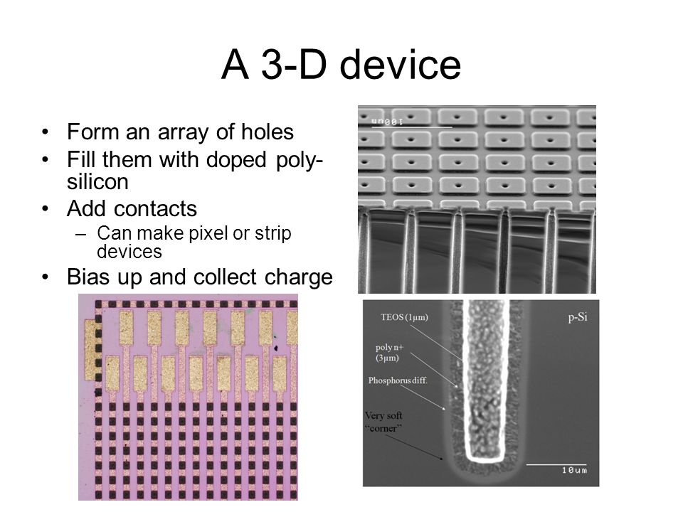 A 3-D device Form an array of holes Fill them with doped poly- silicon Add contacts –Can make pixel or strip devices Bias up and collect charge