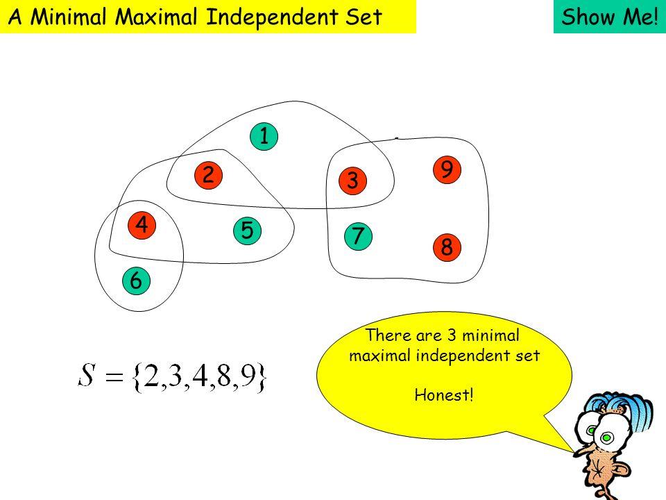 Show Me! 1 2 3 4 5 7 9 8 6 A Minimal Maximal Independent Set There are 3 minimal maximal independent set Honest!