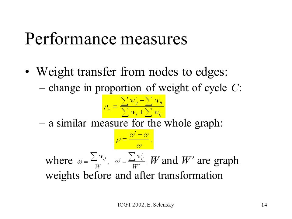 ICGT 2002, E. Selensky14 Weight transfer from nodes to edges: –change in proportion of weight of cycle C: –a similar measure for the whole graph: wher