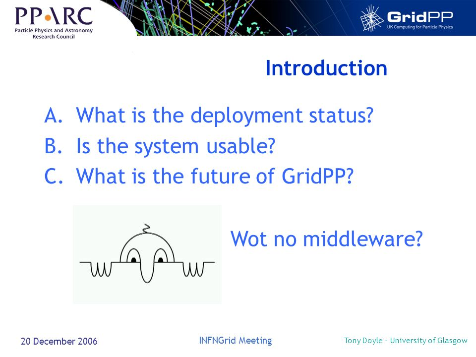 Tony Doyle - University of Glasgow INFNGrid Meeting 20 December 2006 Introduction A.What is the deployment status.