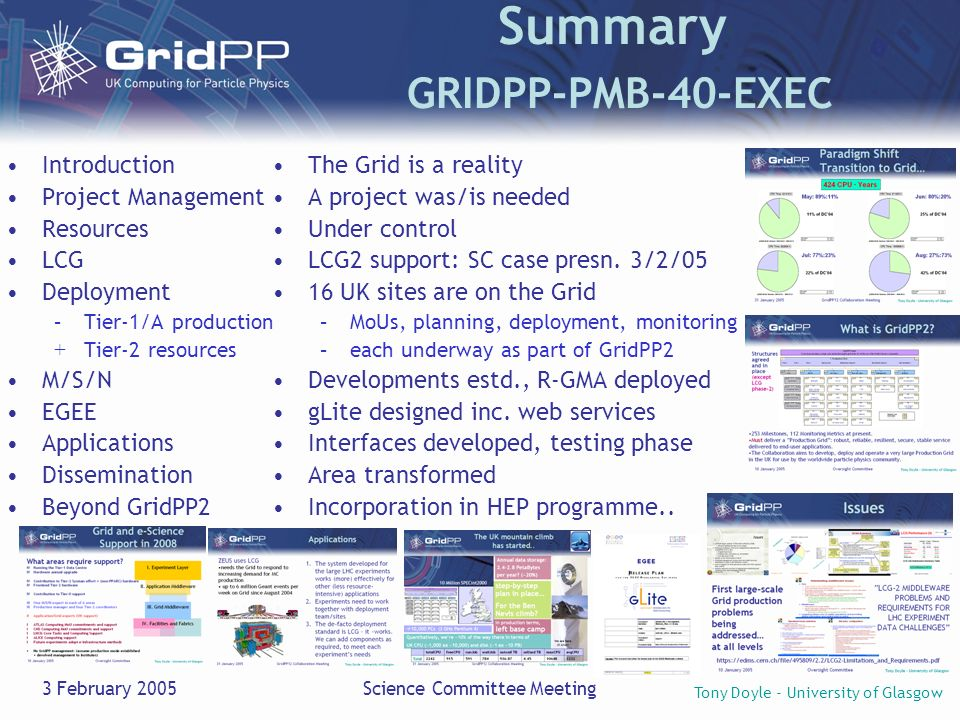 Tony Doyle - University of Glasgow 3 February 2005Science Committee Meeting Summary GRIDPP-PMB-40-EXEC The Grid is a reality A project was/is needed Under control LCG2 support: SC case presn.