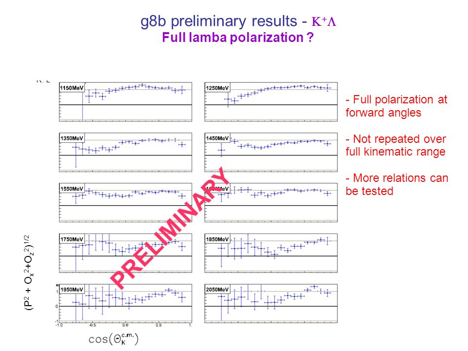 g8b preliminary results - Full lamba polarization .