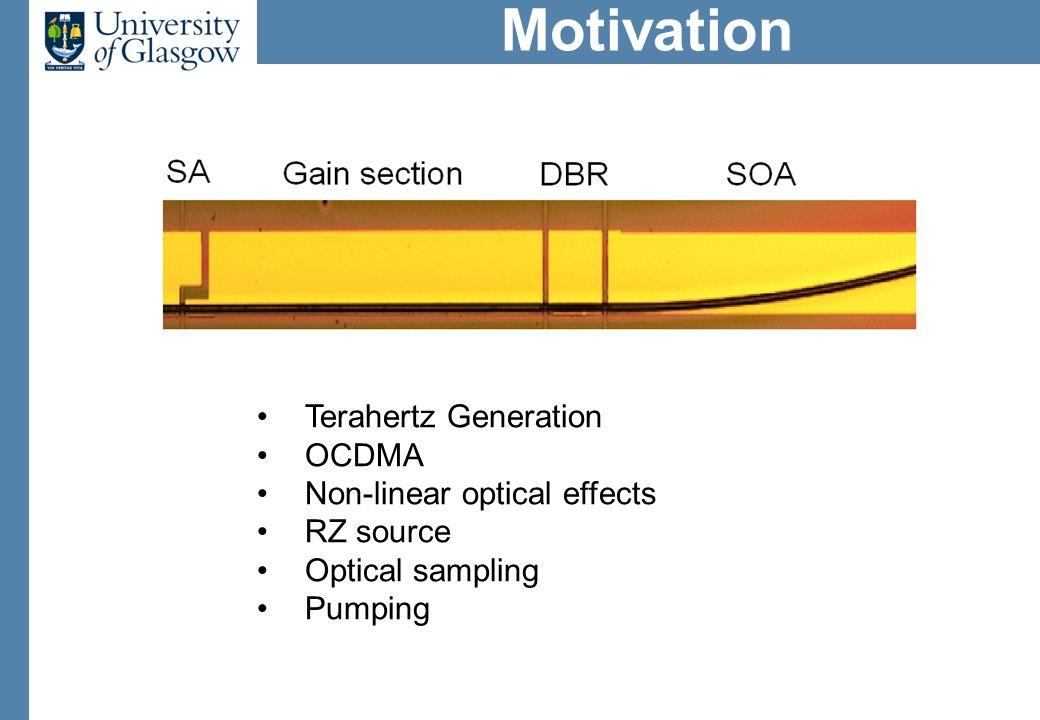 Motivation Terahertz Generation OCDMA Non-linear optical effects RZ source Optical sampling Pumping