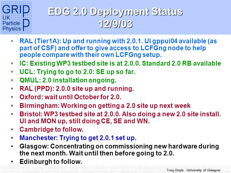 Tony Doyle - University of Glasgow EDG 2.0 Deployment Status 12/9/03 RAL (Tier1A): Up and running with 2.0.1.