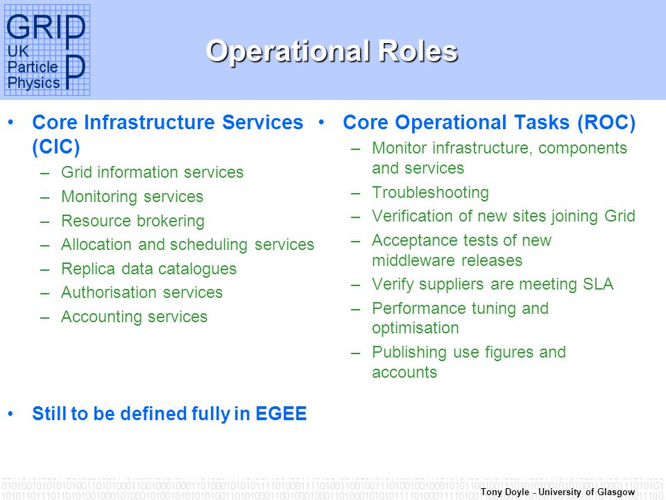 Tony Doyle - University of Glasgow Operational Roles Core Infrastructure Services (CIC) –Grid information services –Monitoring services –Resource brokering –Allocation and scheduling services –Replica data catalogues –Authorisation services –Accounting services Still to be defined fully in EGEE Core Operational Tasks (ROC) –Monitor infrastructure, components and services –Troubleshooting –Verification of new sites joining Grid –Acceptance tests of new middleware releases –Verify suppliers are meeting SLA –Performance tuning and optimisation –Publishing use figures and accounts