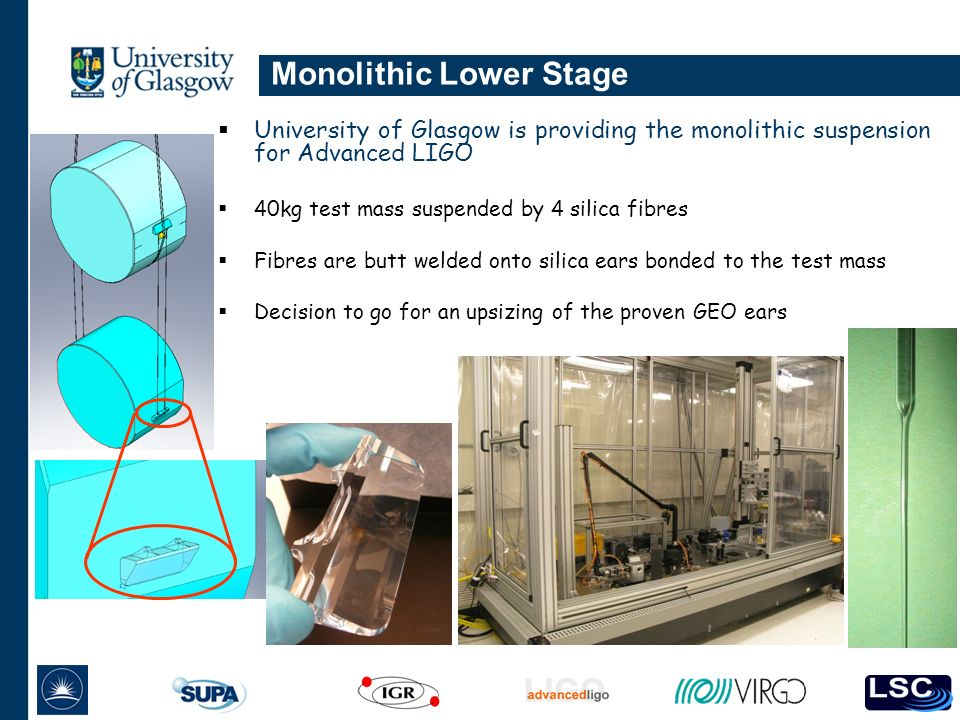 Monolithic Lower Stage University of Glasgow is providing the monolithic suspension for Advanced LIGO 40kg test mass suspended by 4 silica fibres Fibres are butt welded onto silica ears bonded to the test mass Decision to go for an upsizing of the proven GEO ears