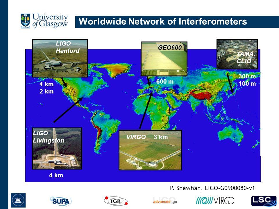 Worldwide Network of Interferometers GEO600 TAMA, CLIO LIGO Livingston LIGO Hanford 4 km 2 km 600 m 300 m 100 m P.