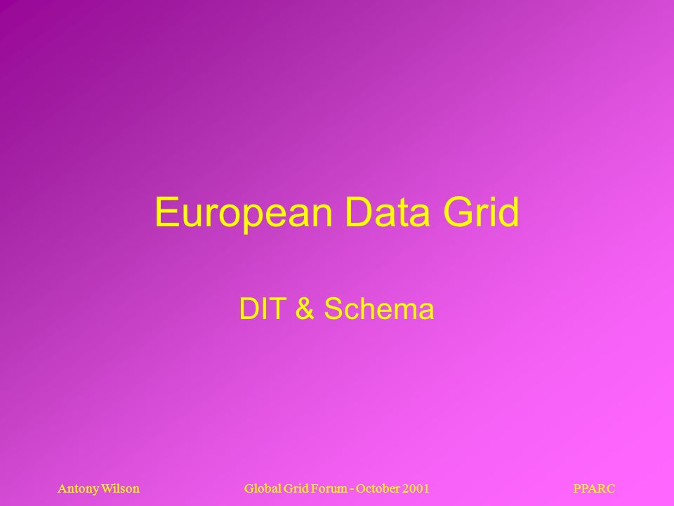 PPARCAntony WilsonGlobal Grid Forum - October 2001 European Data Grid DIT & Schema