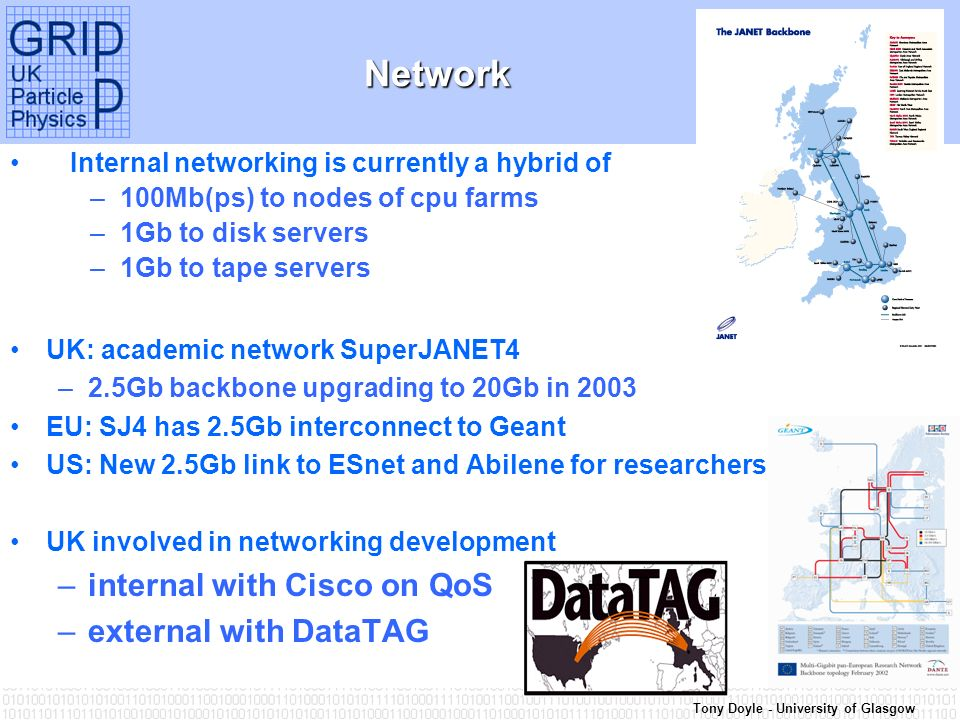 Tony Doyle - University of Glasgow Network Network Internal networking is currently a hybrid of –100Mb(ps) to nodes of cpu farms –1Gb to disk servers –1Gb to tape servers UK: academic network SuperJANET4 –2.5Gb backbone upgrading to 20Gb in 2003 EU: SJ4 has 2.5Gb interconnect to Geant US: New 2.5Gb link to ESnet and Abilene for researchers UK involved in networking development –internal with Cisco on QoS –external with DataTAG