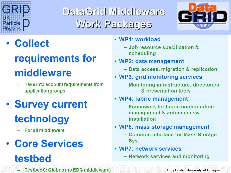 Tony Doyle - University of Glasgow DataGrid Middleware Work Packages Collect requirements for middleware –Take into account requirements from application groups Survey current technology –For all middleware Core Services testbed –Testbed 0: Globus (no EDG middleware) First Grid testbed release Testbed 1: first release of EDG middleware WP1: workload –Job resource specification & scheduling WP2: data management –Data access, migration & replication WP3: grid monitoring services –Monitoring infrastructure, directories & presentation tools WP4: fabric management –Framework for fabric configuration management & automatic sw installation WP5: mass storage management –Common interface for Mass Storage Sys.