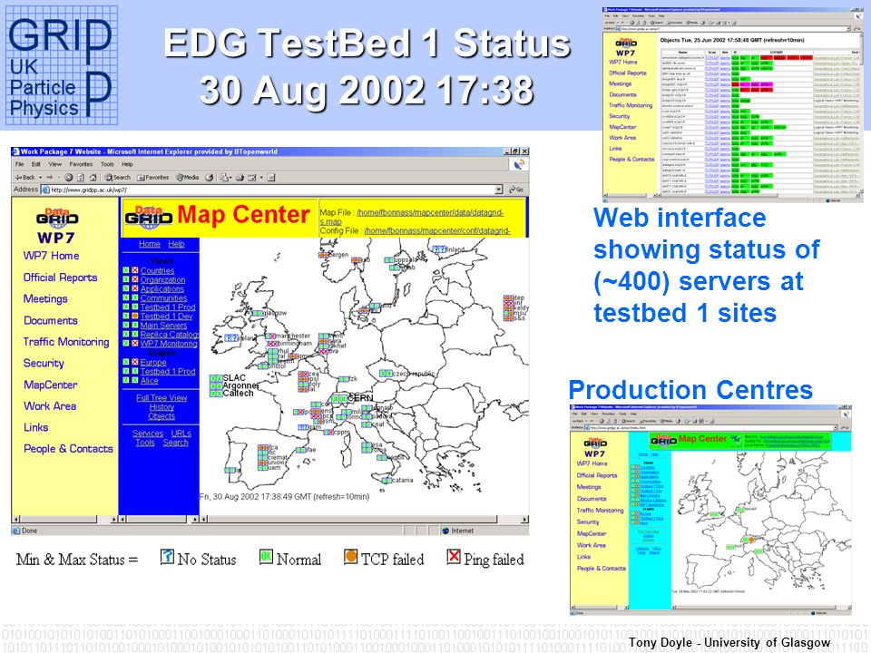 Tony Doyle - University of Glasgow EDG TestBed 1 Status 30 Aug 2002 17:38 Web interface showing status of (~400) servers at testbed 1 sites Production Centres