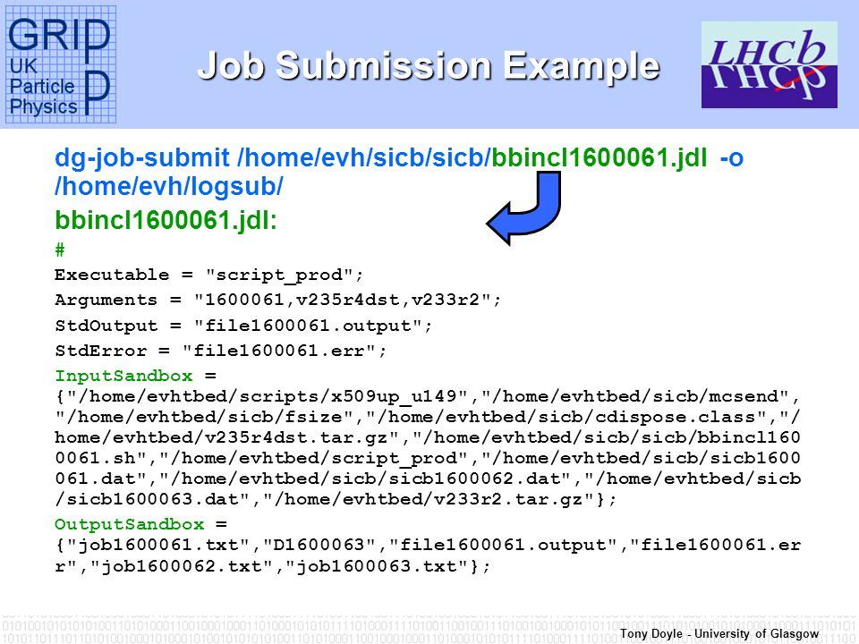 Tony Doyle - University of Glasgow Job Submission Example dg-job-submit /home/evh/sicb/sicb/bbincl jdl -o /home/evh/logsub/ bbincl jdl: # Executable = script_prod ; Arguments = ,v235r4dst,v233r2 ; StdOutput = file output ; StdError = file err ; InputSandbox = { /home/evhtbed/scripts/x509up_u149 , /home/evhtbed/sicb/mcsend , /home/evhtbed/sicb/fsize , /home/evhtbed/sicb/cdispose.class , / home/evhtbed/v235r4dst.tar.gz , /home/evhtbed/sicb/sicb/bbincl sh , /home/evhtbed/script_prod , /home/evhtbed/sicb/sicb dat , /home/evhtbed/sicb/sicb dat , /home/evhtbed/sicb /sicb dat , /home/evhtbed/v233r2.tar.gz }; OutputSandbox = { job txt , D , file output , file er r , job txt , job txt };