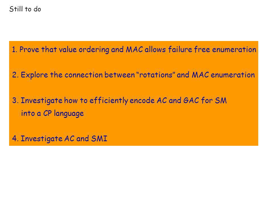 Still to do 1. Prove that value ordering and MAC allows failure free enumeration 2. Explore the connection between rotations and MAC enumeration 3. In