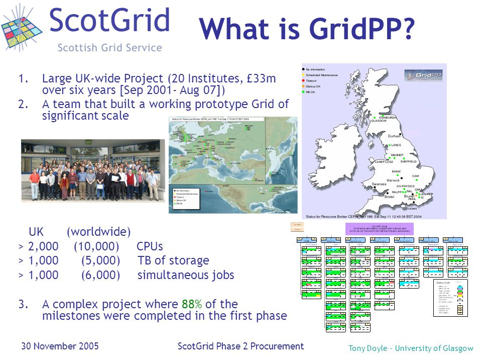 Tony Doyle - University of Glasgow 30 November 2005ScotGrid Phase 2 Procurement 1.Large UK-wide Project (20 Institutes, £33m over six years [Sep 2001-