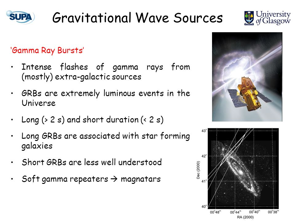 Gamma Ray Bursts Intense flashes of gamma rays from (mostly) extra-galactic sources GRBs are extremely luminous events in the Universe Long (> 2 s) an