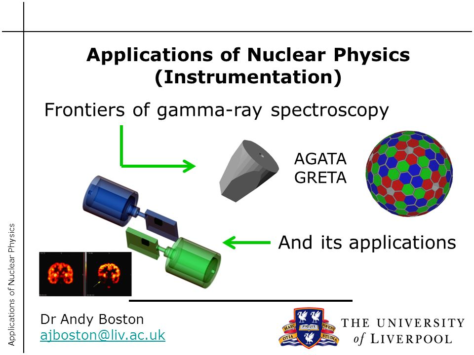 Applications of Nuclear Physics Applications of Nuclear Physics (Instrumentation) Dr Andy Boston ajboston@liv.ac.uk Frontiers of gamma-ray spectroscopy And its applications AGATA GRETA
