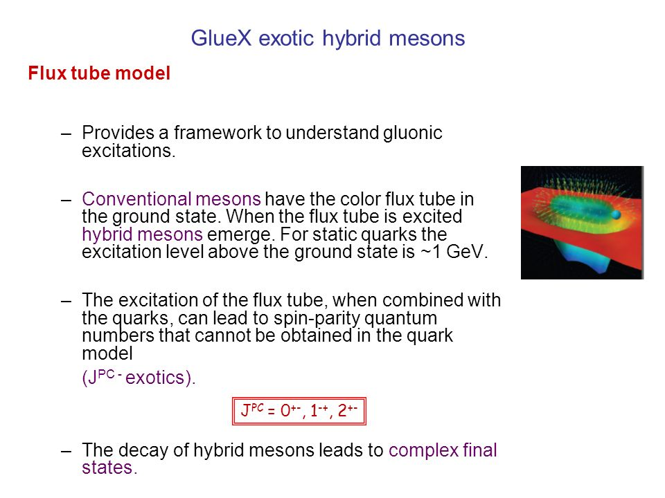 GlueX exotic hybrid mesons J PC = 0 +-, 1 -+, 2 +- Flux tube model –Provides a framework to understand gluonic excitations. –Conventional mesons have