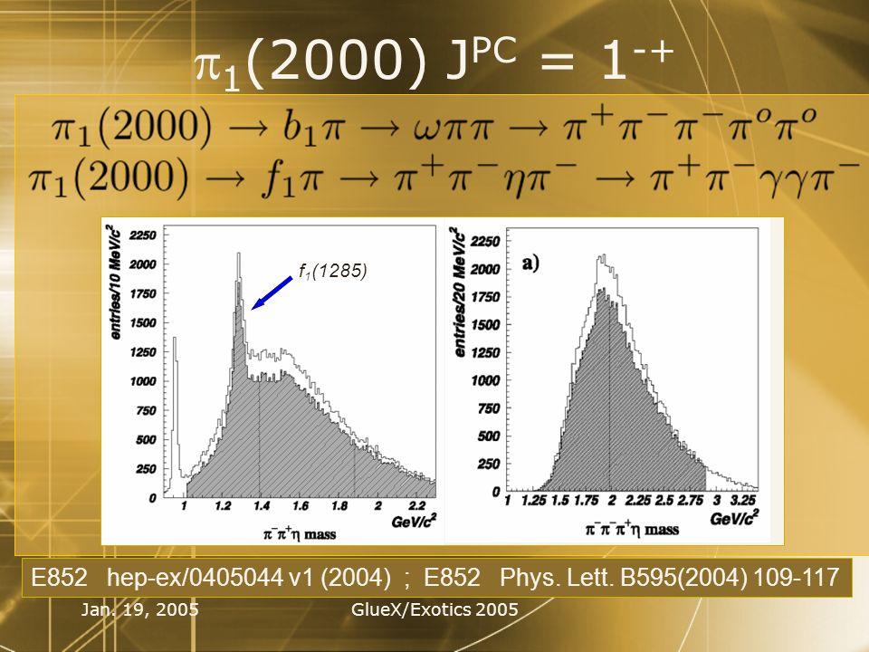 Jan. 19, 2005GlueX/Exotics 2005 1 (2000) J PC = 1 -+ E852 hep-ex/0405044 v1 (2004) ; E852 Phys. Lett. B595(2004) 109-117 f 1 (1285)