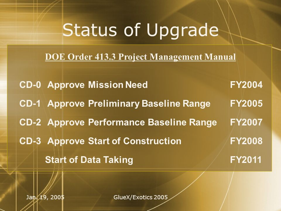 Jan. 19, 2005GlueX/Exotics 2005 Status of Upgrade CD-0Approve Mission Need CD-1Approve Preliminary Baseline Range CD-2Approve Performance Baseline Ran