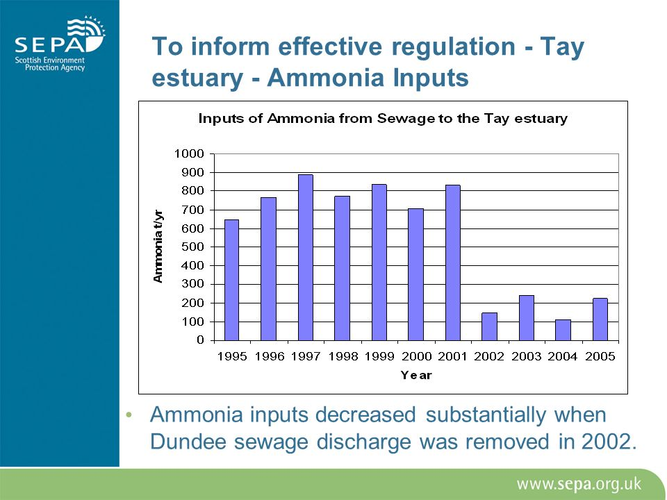 To inform effective regulation - Tay estuary - Ammonia Inputs Ammonia inputs decreased substantially when Dundee sewage discharge was removed in 2002.