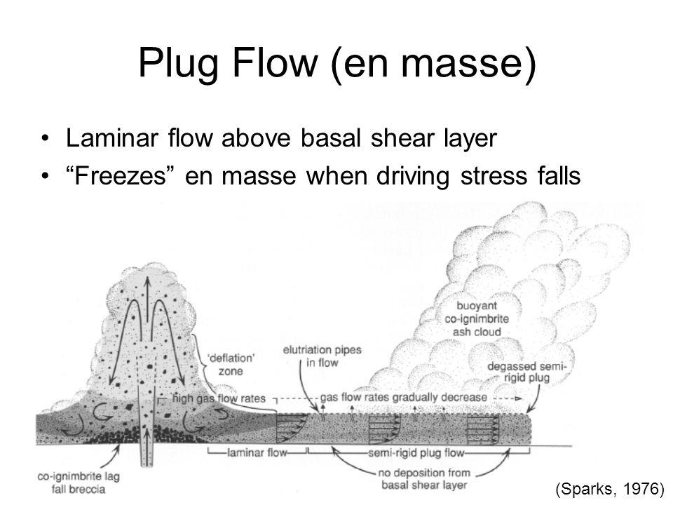 Plug Flow (en masse) Laminar flow above basal shear layer Freezes en masse when driving stress falls (Sparks, 1976)