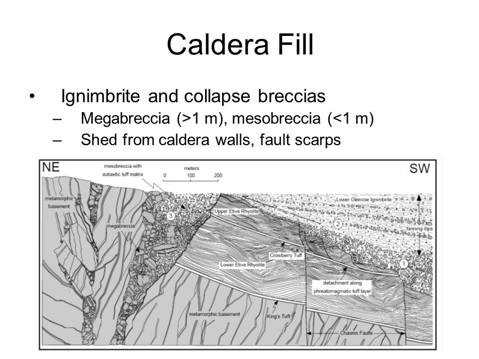 Caldera Fill Ignimbrite and collapse breccias –Megabreccia (>1 m), mesobreccia (<1 m) –Shed from caldera walls, fault scarps