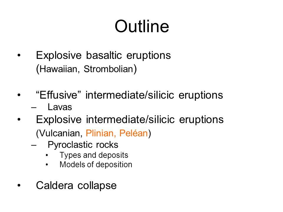 Outline Explosive basaltic eruptions ( Hawaiian, Strombolian ) Effusive intermediate/silicic eruptions –Lavas Explosive intermediate/silicic eruptions (Vulcanian, Plinian, Peléan) –Pyroclastic rocks Types and deposits Models of deposition Caldera collapse