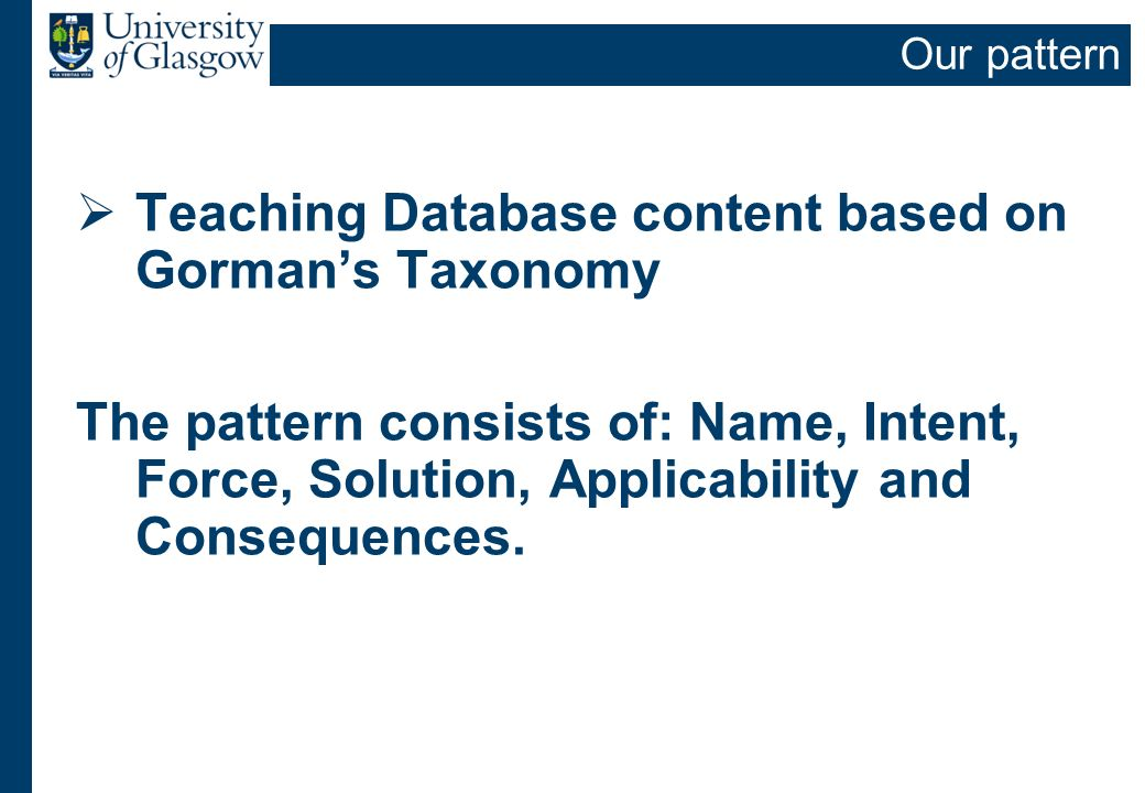 Our pattern Teaching Database content based on Gormans Taxonomy The pattern consists of: Name, Intent, Force, Solution, Applicability and Consequences
