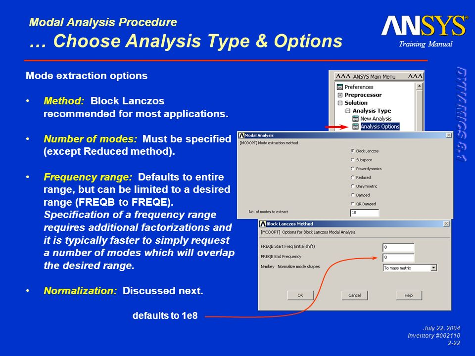 Training Manual July 22, 2004 Inventory #002110 2-22 Modal Analysis Procedure … Choose Analysis Type & Options Mode extraction options Method: Block L