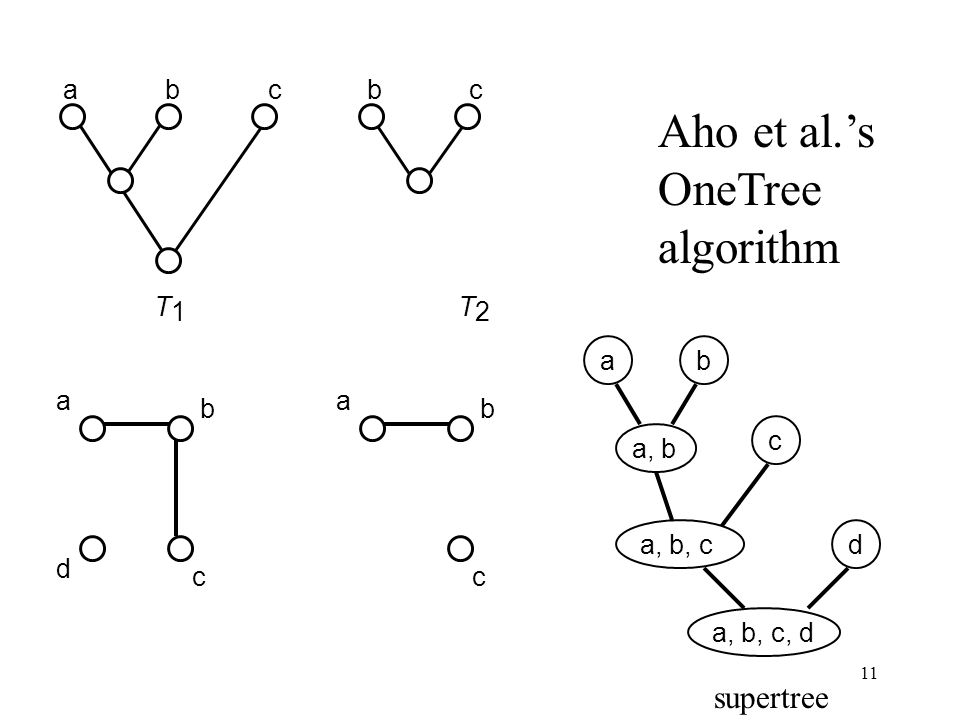 11 abcbcd T 1 T 2 a b c d a, bda, b, c, d a b c a, b, cabc Aho et al.s OneTree algorithm supertree