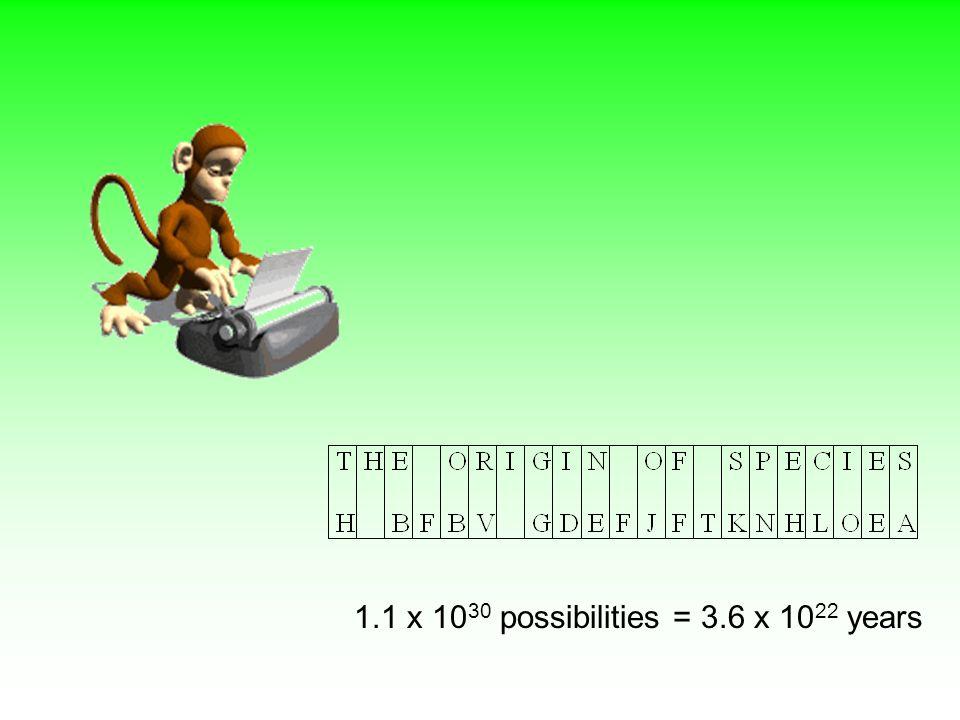 1.1 x 10 30 possibilities = 3.6 x 10 22 years