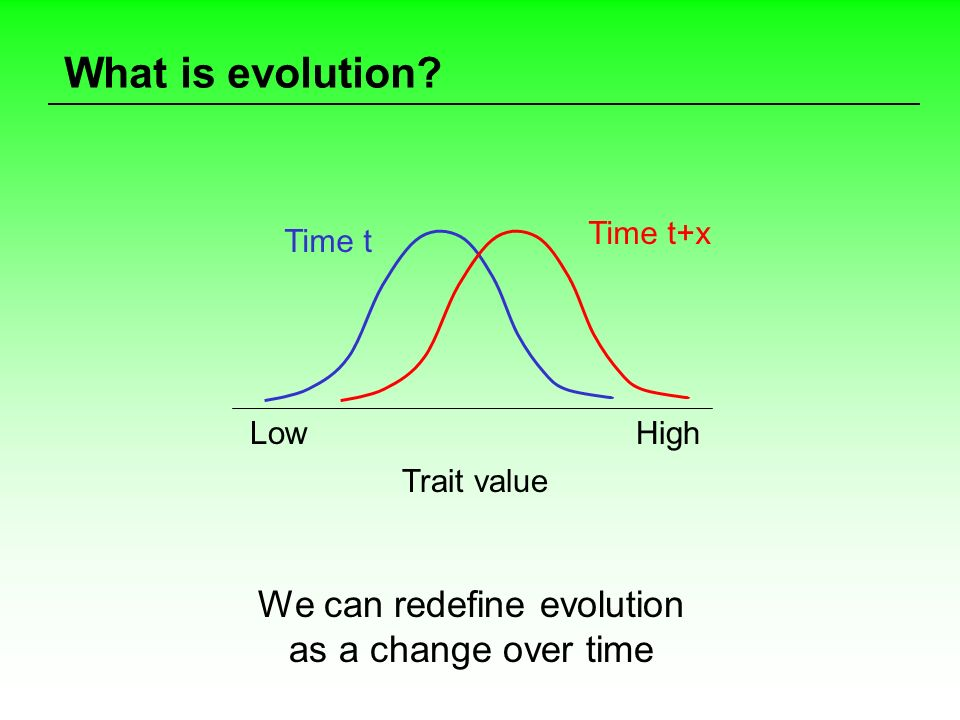 What is evolution? We can redefine evolution as a change over time Trait value Time t Time t+x Low High